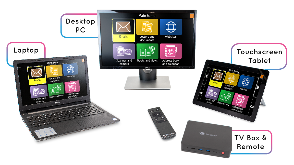 GuideConnect shown on a: laptop, desktop PC, touchscreen tablet & TV Box with remote control