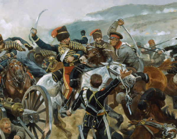 Painting of hussars charging