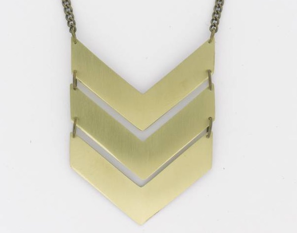 Brass military-inspired chevron necklace from Museum shop