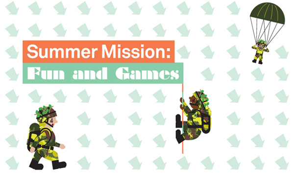 Summer Mission illustration. Soldiers and paratroopers.