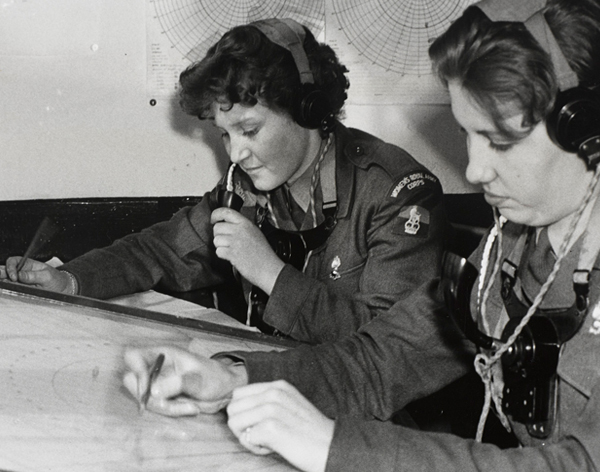 Women working in the map rooms