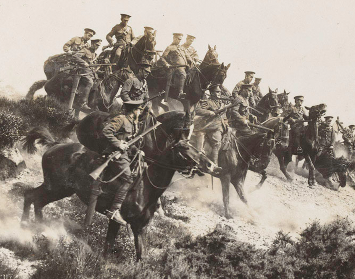 Photo of cavalry charging down a hill
