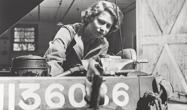 Princess Elizabeth in the ATS working on an engine