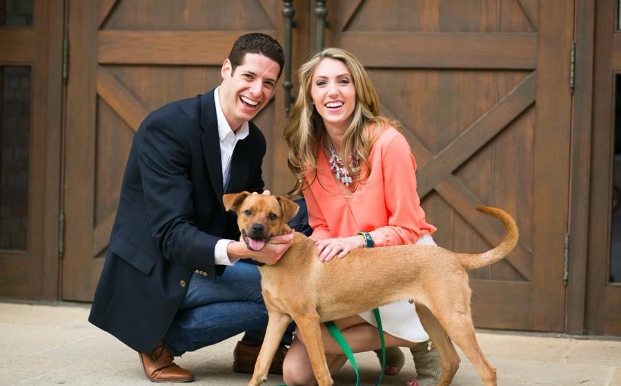 San Antonio Engagement Photos with Dog on Modern Jewish Wedding