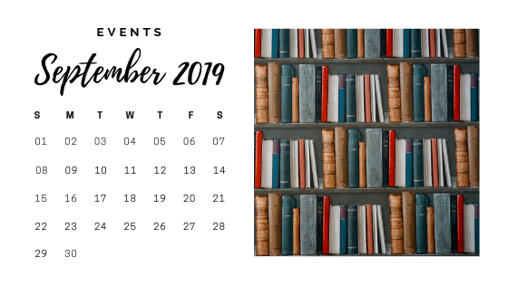 September 2019 Events Calendar. Picture on the right is a bookshelf.