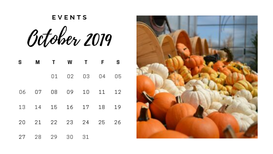 October 2019 calendar - pumpkins
