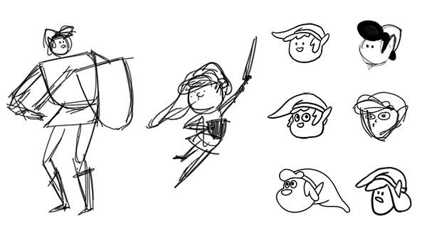 Sketches of Link shapes and heads