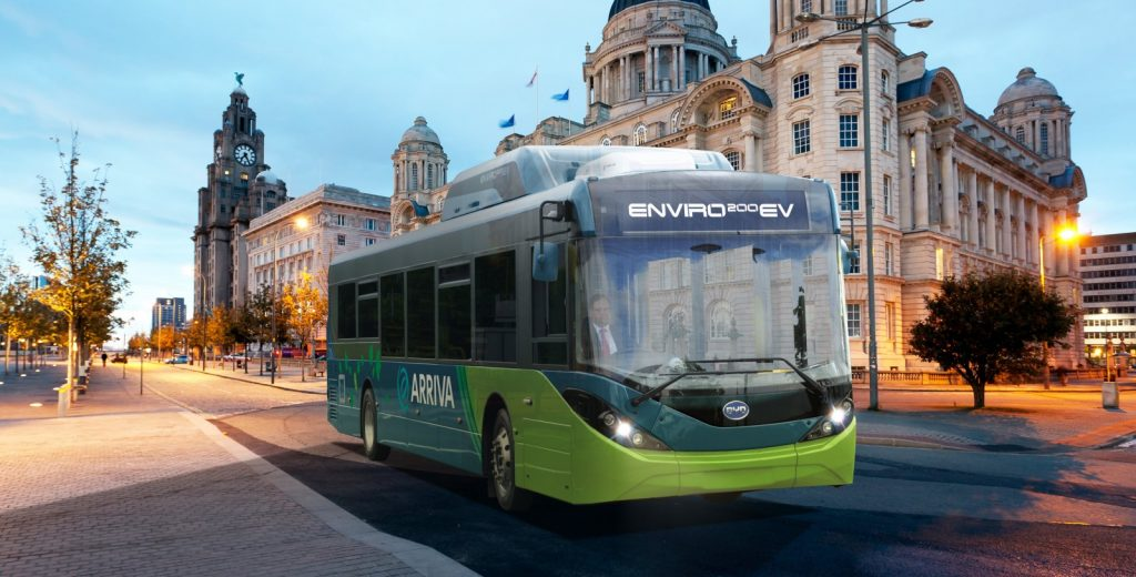 Photo of Arriva electric bus on the Pier Head