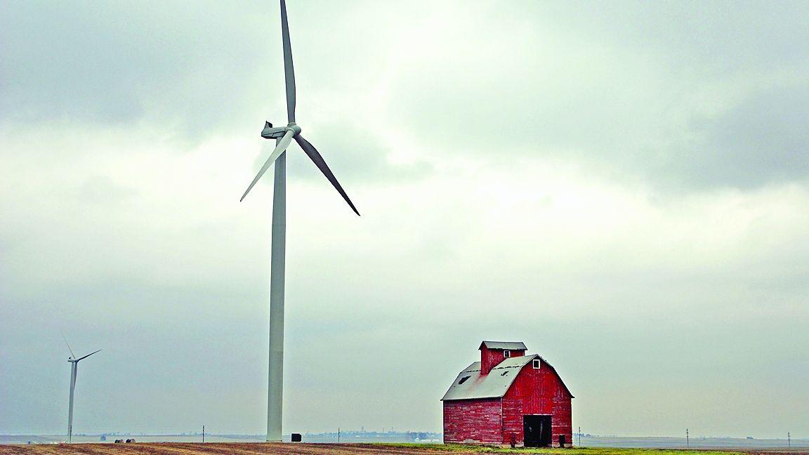 Windmill near barn
