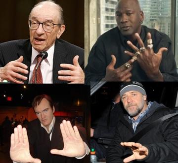 4 Thumb Types - Alan Greenspan, Michael Jordan, Quentin Tarantino, Russel Crowe