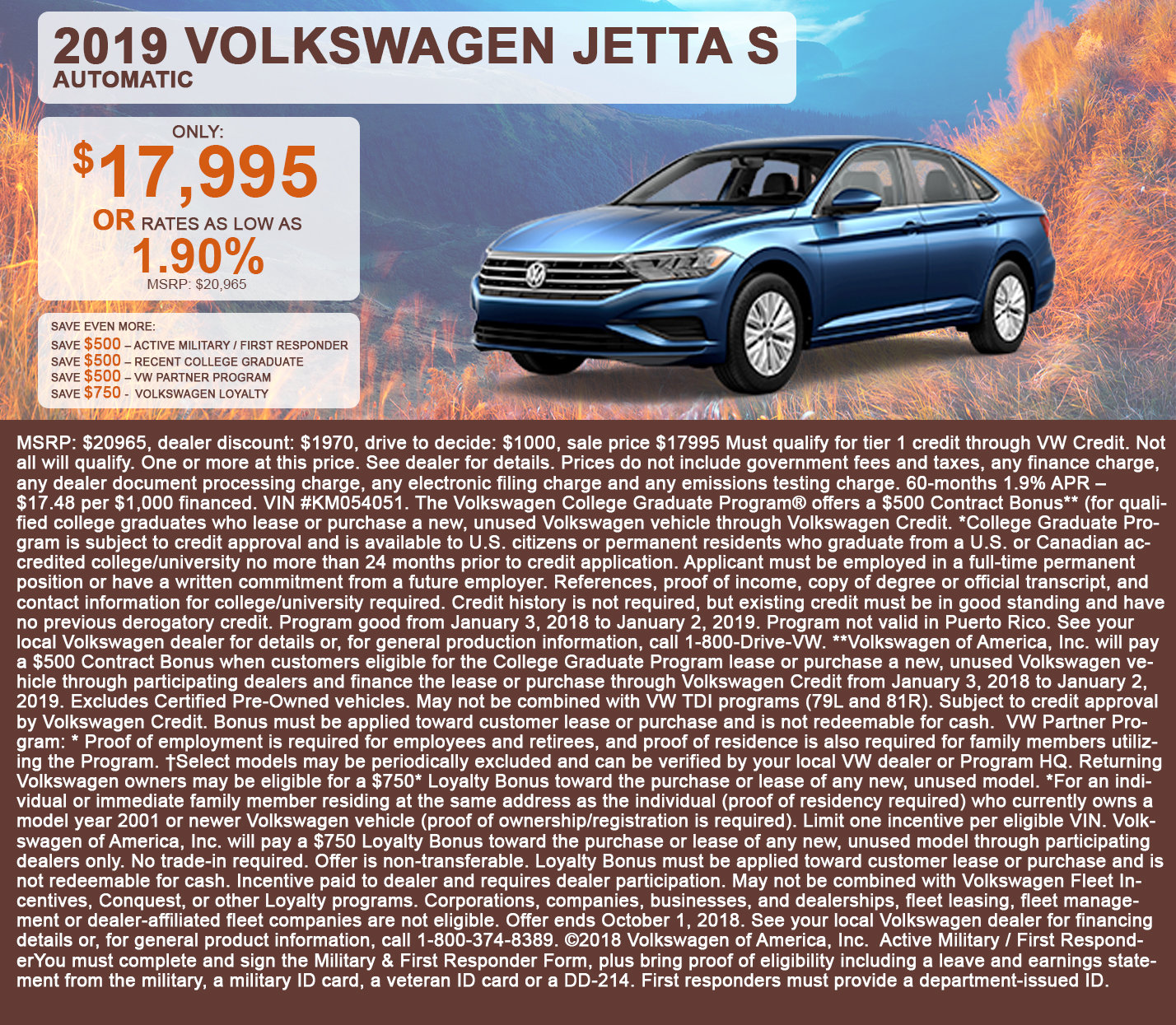 2019 Volkswagen Jetta S Automatic