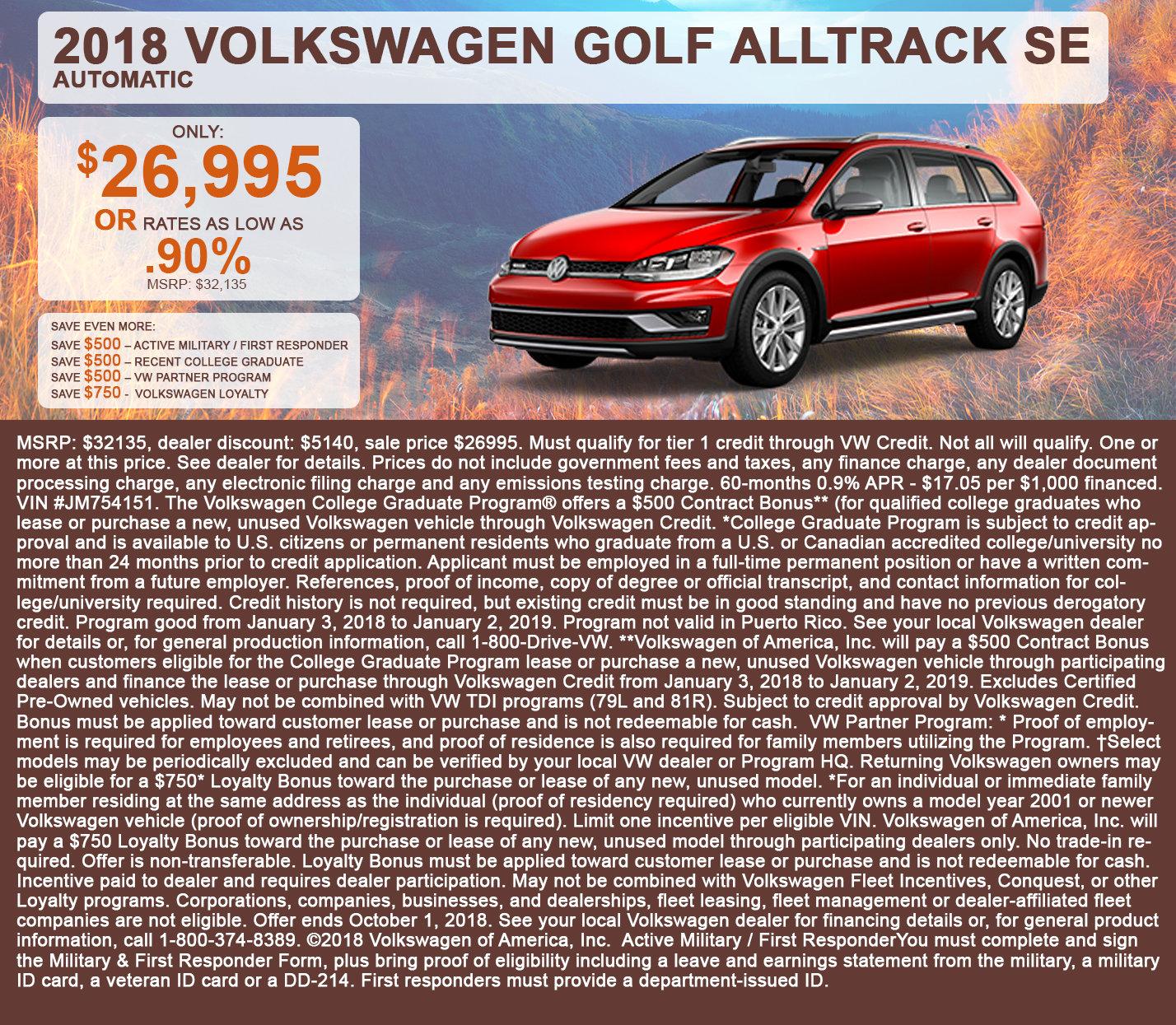 2018 Volkswagen Golf Alltrack SE Automatic