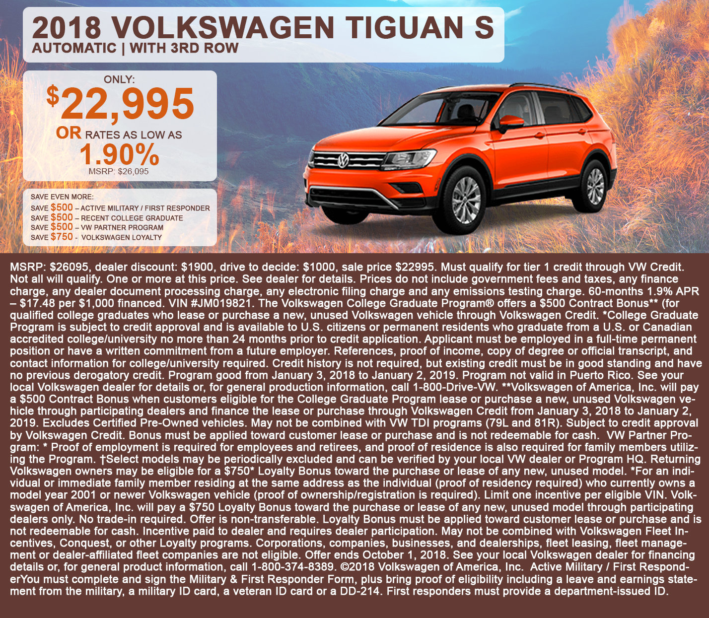 2018 Volkswagen Tiguan S Automatic | With 3rd Row