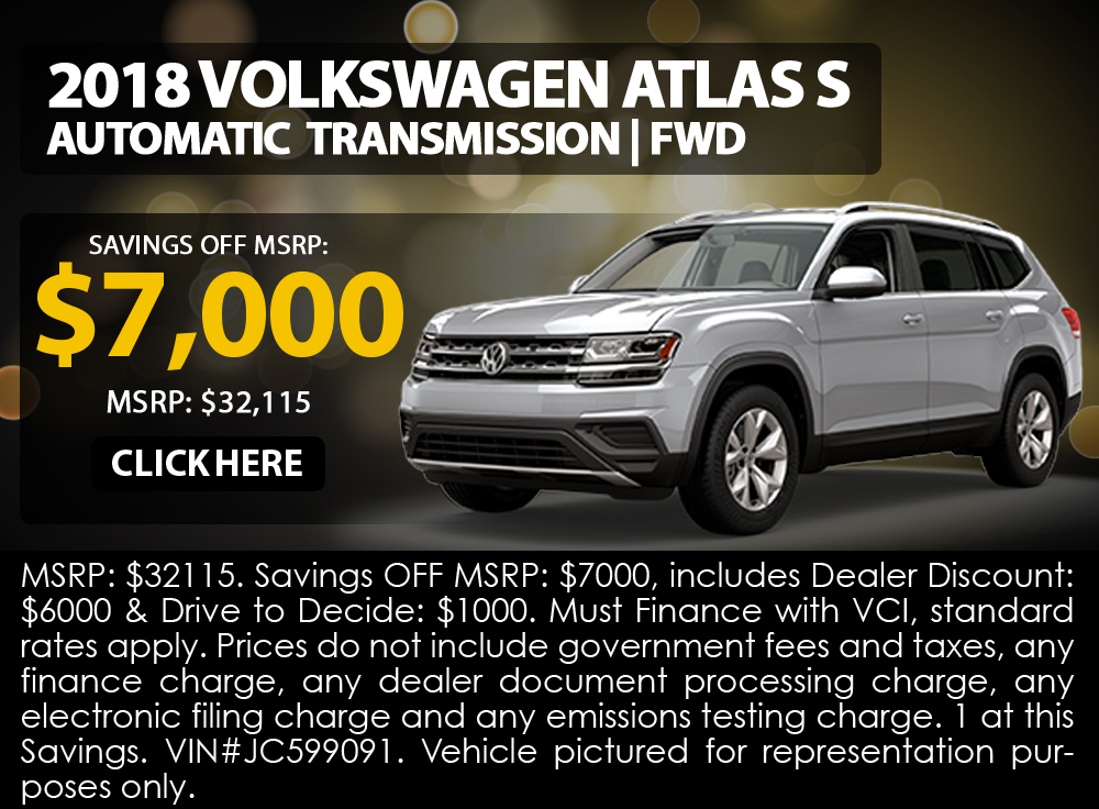 2018 Volkswagen Atlas S Automatic Transmission | FWD