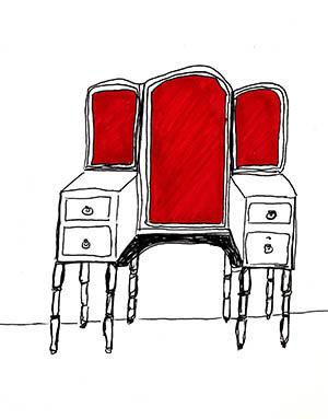 Robyn LeRoy-Evans 'Red Dresser' drawing