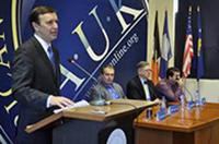 United States Senator, Chris Murphy gave a speech in front of the A.U.K. community