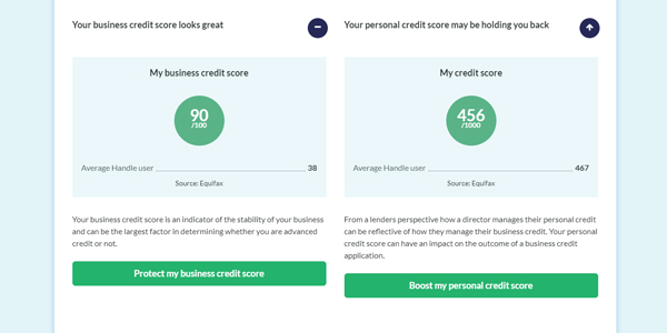 Handle credit report business and director credit score screenshot