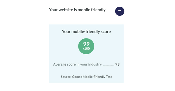 Handle website report mobile optimisation score benchmark