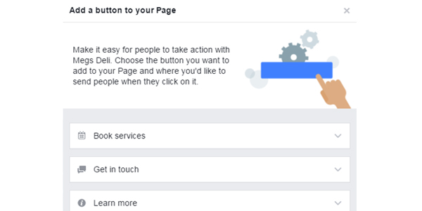 Facebook business page buttons