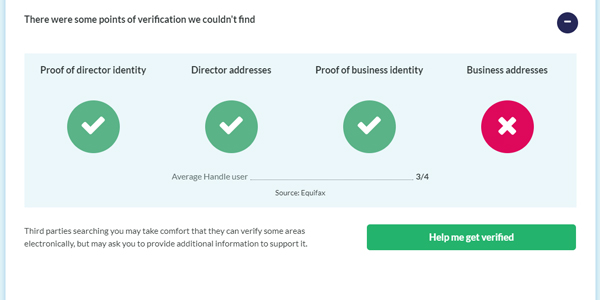 Handle credit report verification screenshot
