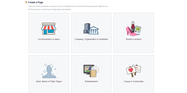 Facebook business page set up options