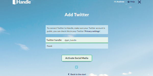 Twitter activation on Handle