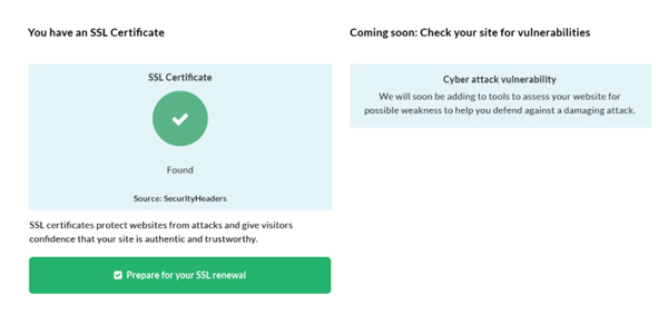 Handle website report security score