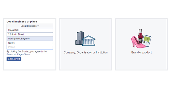 Facebook page business information