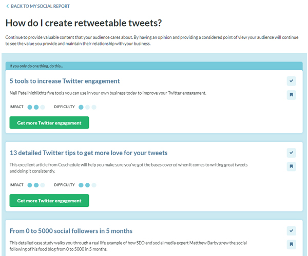 Handle social report personalised action plan screenshot