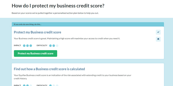 Handle credit report personalised action plan screenshot