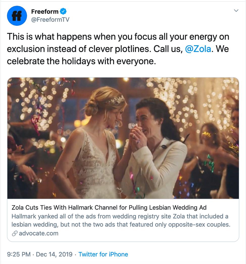 Hallmark Channel's Zola Ad