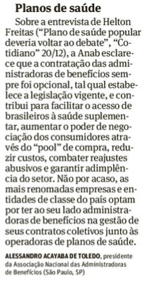 Posicionamento da ANAB é publicado no jornal Folha de S.Paulo