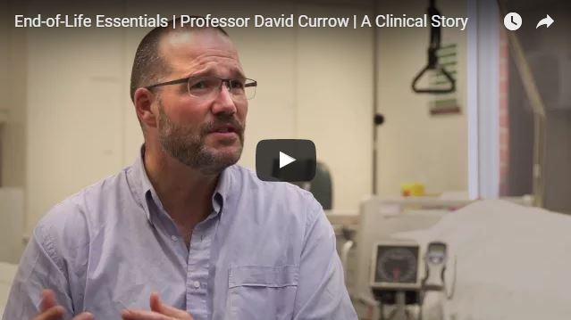 Screenshot of YouTube video of Professor David Currow (Department of Palliative and Supportive Services, Flinders University) sharing a patient's story about end-of-life conversations