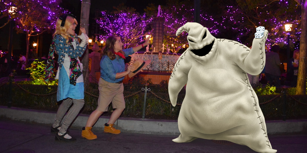 Me and Julia getting chased by the Oogie Boogie at Disneyland