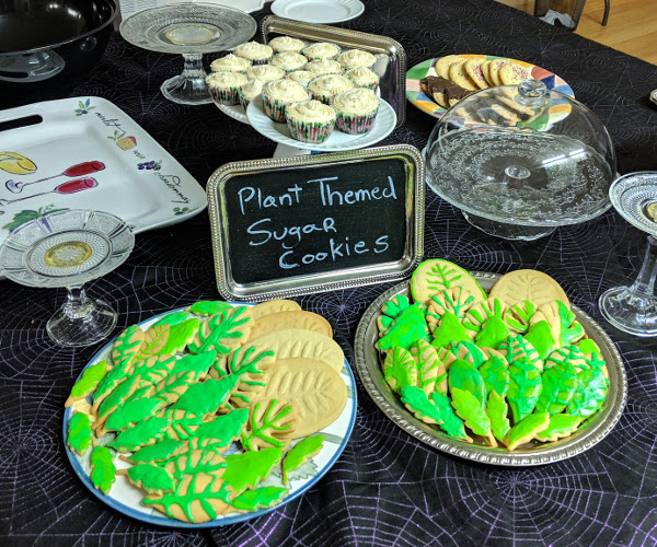 Lavender cupcakes and plant-themed sugar cookies