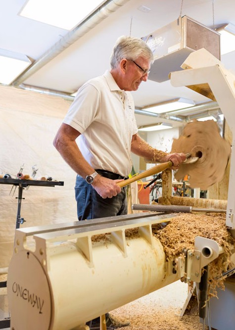 Photo of Brian Markham at his lathe
