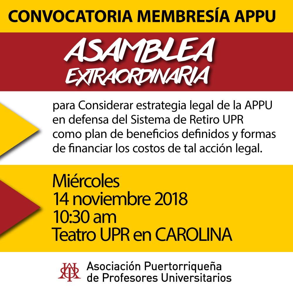 Convocatoria Membresía APPU Asamblea Extraordinaria