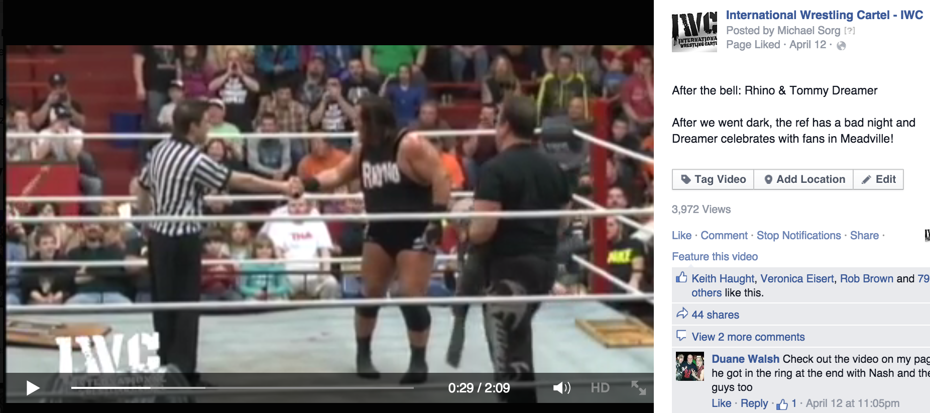 International Wrestling Cartel Video with Tommy Dreamer and Rhino