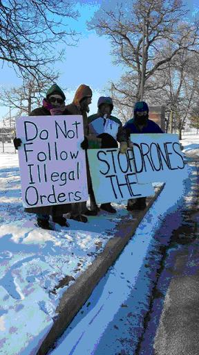 Protest at Volk Field in Wisconsin February 25; it was five degrees below zero.