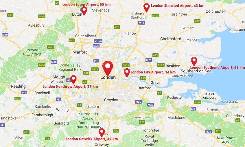 Vliegvelden Londen plattegrond