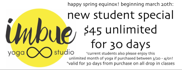 Imbue Yoga Studio Minneapolis - New Student Class Special