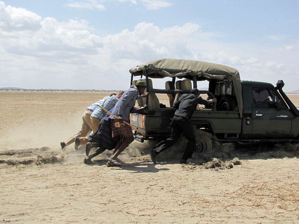 Pushing the Truck Out of Sand (photo by Shara Cunningham)