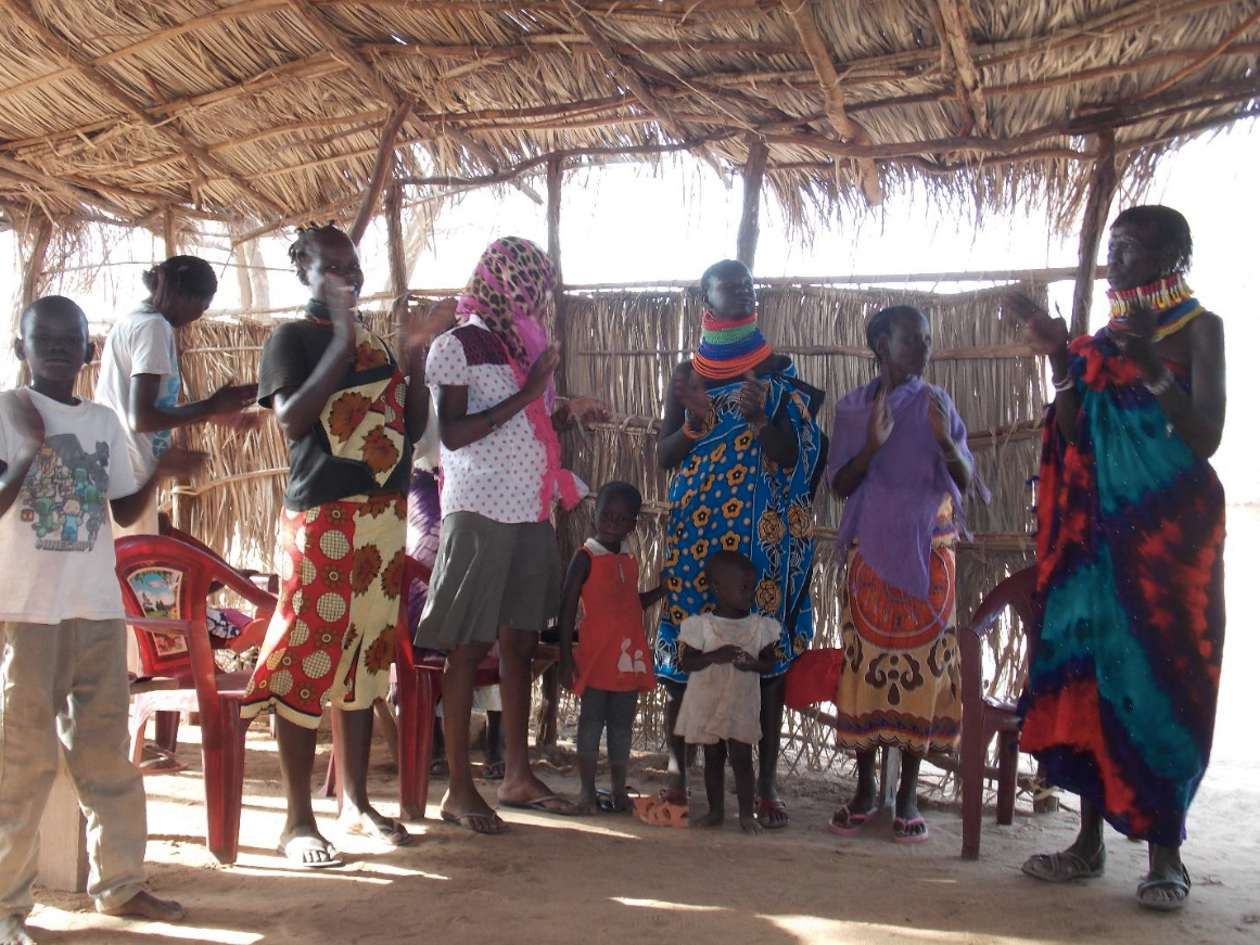 Women and children gathered near Lodwar, Turkana, Kenya