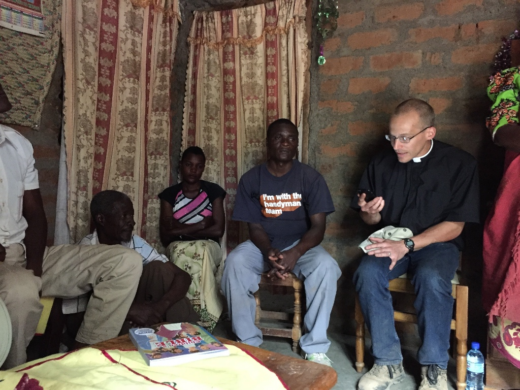 Missionary Rev. Jonathan Clausing shares a Gospel message in Kahe, Tanzania