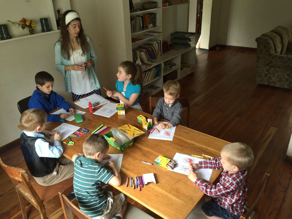 Stefanie Rabe teaches Sunday School for Missionary Kids in Ethiopia