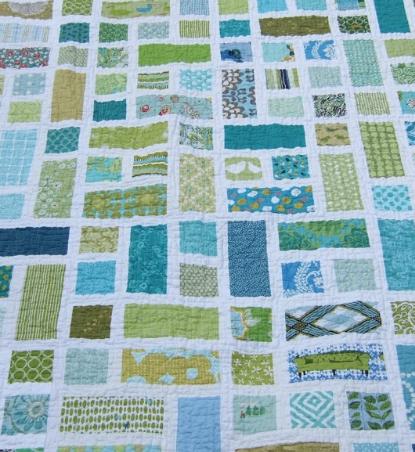 green patchwork quilt