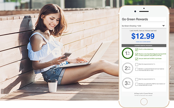 Pictured: an image of a woman on her cell phone and laptop, using her NEFCU Go Green Tracker, with an image of NEFCU's Go Green Tracker pictured on the right.
