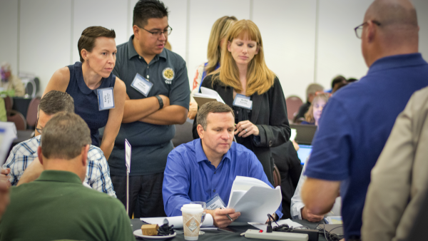 County Administrative Officer Dan Buckshi works with Office of Emergency Services staff at FEMA drill.