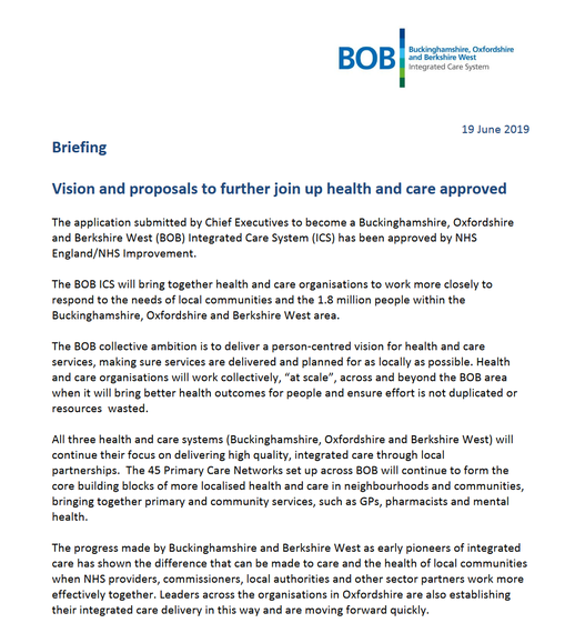 BOB ICS statement