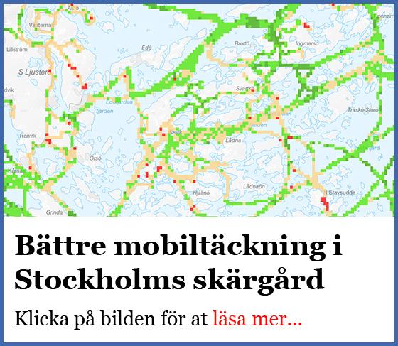 Mobiltäckningen i Stockholms skärgård ökar.